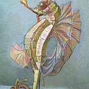 Для дома и интерьера ручной работы. Ярмарка Мастеров - ручная работа Морской конек- витражный светильник в стиле тиффани. Handmade.