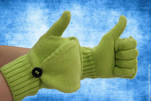 Варежки, митенки, перчатки ручной работы. Ярмарка Мастеров - ручная работа. Купить Перчатки. Handmade. Салатовый, вязание на машине