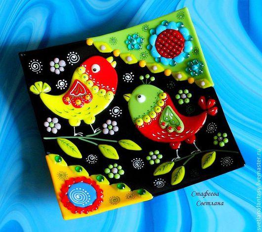"""Тарелки ручной работы. Ярмарка Мастеров - ручная работа. Купить """"Весенние птички"""" комплект тарелочек из стекла, фьюзинг. Handmade."""