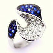 """Кольца ручной работы. Ярмарка Мастеров - ручная работа Кольцо """"Волна"""" с синим корундом. Handmade."""