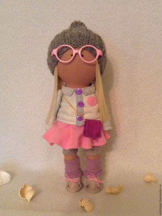 Куклы тыквоголовки ручной работы. Ярмарка Мастеров - ручная работа. Купить Интерьерная кукла в очках. Handmade. Розовый, девочка