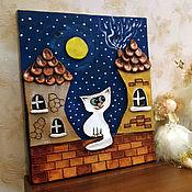 """Для дома и интерьера ручной работы. Ярмарка Мастеров - ручная работа Панно """"Кот на крыше"""". Handmade."""