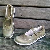 Обувь ручной работы. Ярмарка Мастеров - ручная работа Кожаные туфли Хаки светлые. Handmade.