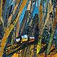 Домики парк лес Лесной пейзаж маслом Картина осень купить Оранжевый желтый коричневый зеленый рыжий  золотой голубой красный Лес картина