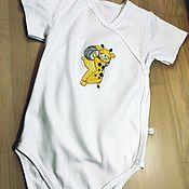 Одежда детская handmade. Livemaster - original item Baby bodysuit with hand embroidery