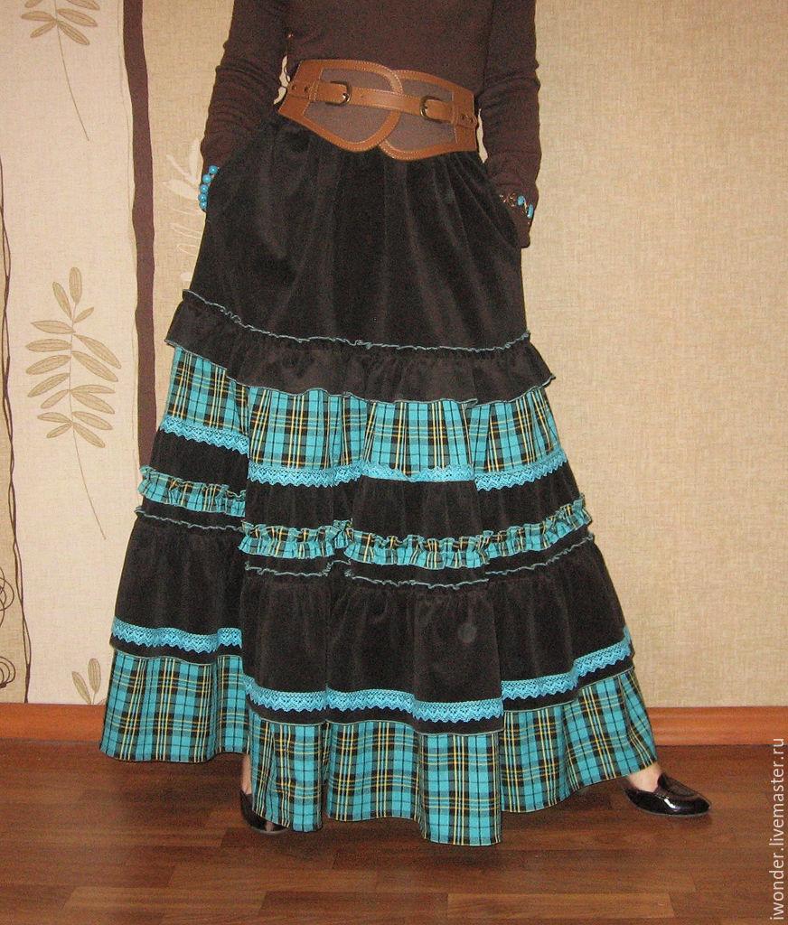 Длинной юбки на резинке воланами