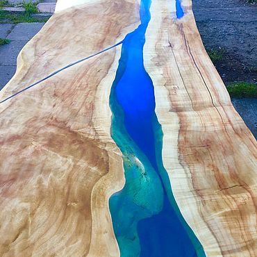Для дома и интерьера ручной работы. Ярмарка Мастеров - ручная работа Стол-река из слэба клена Uneven. Handmade.