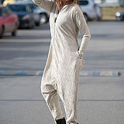 Одежда handmade. Livemaster - original item Fashionable beige jumpsuit of knit-knit - JP0351TR. Handmade.