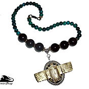 handmade. Livemaster - original item Necklace Scarab rainbow obsidian, chrysocolla, green agate. Handmade.