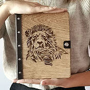 Канцелярские товары handmade. Livemaster - original item A notebook with a wooden cover and a leather cover. Handmade.