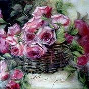 """Картины и панно ручной работы. Ярмарка Мастеров - ручная работа Картина шерстью """"Розы в корзине"""". Handmade."""