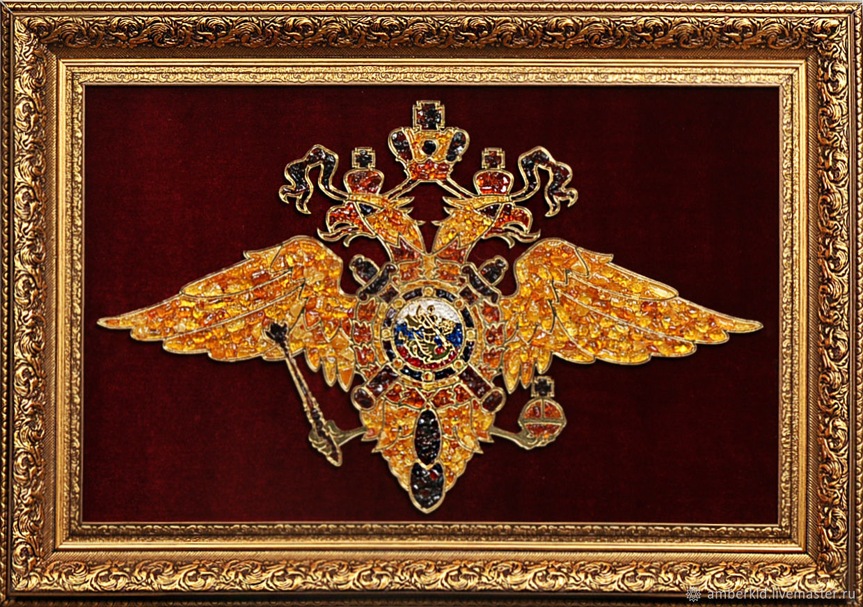 Panels of amber `Arms of the Ministry of internal Affairs`. Emblem MIA amber. Gift of the day (to the day of police and law enforcement agencies).Gift day on February 23