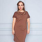 Одежда ручной работы. Ярмарка Мастеров - ручная работа Платье цвета какао из трикотажа 32054-1. Handmade.