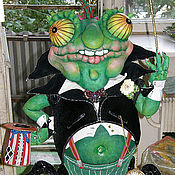 Дизайн и реклама ручной работы. Ярмарка Мастеров - ручная работа большая  интерьерная кукла Хамелеон. Handmade.