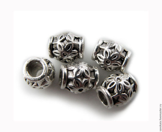 Бусины металлические бочка, 6.0мм x 6.0мм, цвет античное серебро