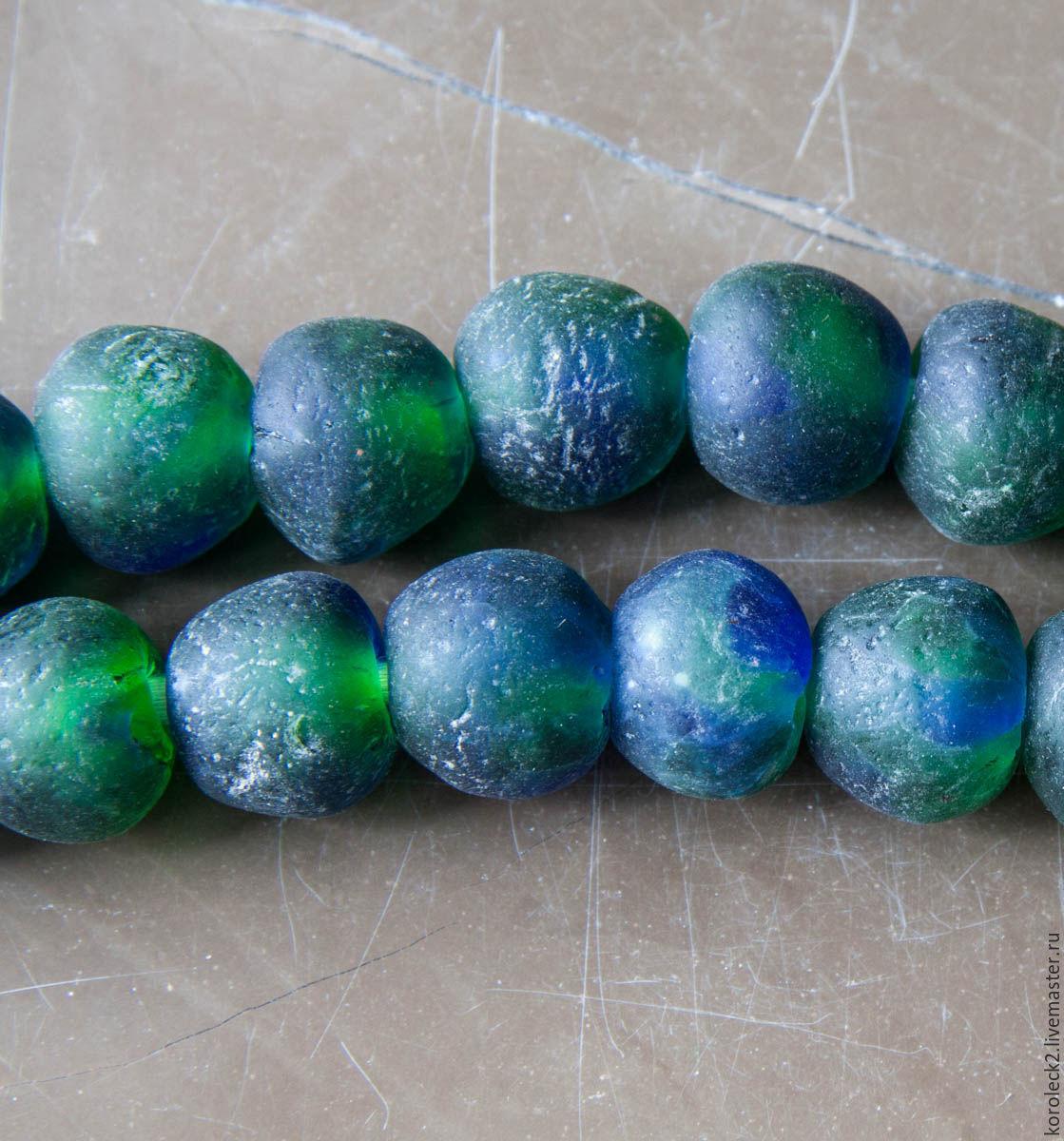 Африканские этнические крупные сине-зеленые стеклянные бусины, Бусины, Москва,  Фото №1