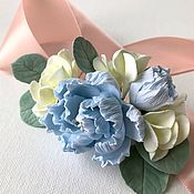 Свадебный салон handmade. Livemaster - original item Jewelry in the hairstyle wedding comb with blue peonies and hydrangea. Handmade.