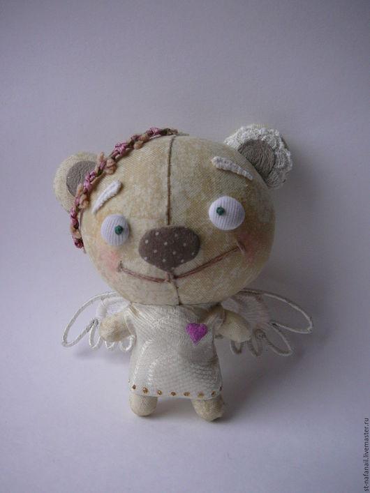 Игрушки животные, ручной работы. Ярмарка Мастеров - ручная работа. Купить Медведь текстильный Ангел. Handmade. Белый, елочная игрушка