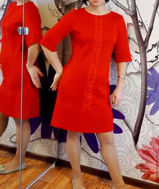 Платья ручной работы. Ярмарка Мастеров - ручная работа. Купить Платье с плиссе трикотажное. Handmade. Ярко-красный, платье с отделкой