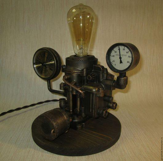 Освещение ручной работы. Ярмарка Мастеров - ручная работа. Купить Светильник с стиле дизельпанк. Handmade. Стимпанк светильник, лампа эдисона