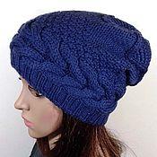 handmade. Livemaster - original item Knitted hat, beanie with a braid of Merino. Handmade.