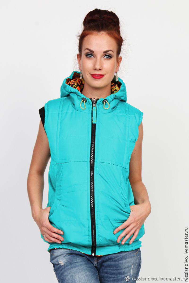 Vest with hood Turquoise, Vests, Novosibirsk,  Фото №1