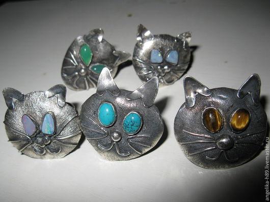 Кольца ручной работы. Ярмарка Мастеров - ручная работа. Купить Кольцо мордочка кот, кошка. Handmade. Кольцо с камнем, хризопраз
