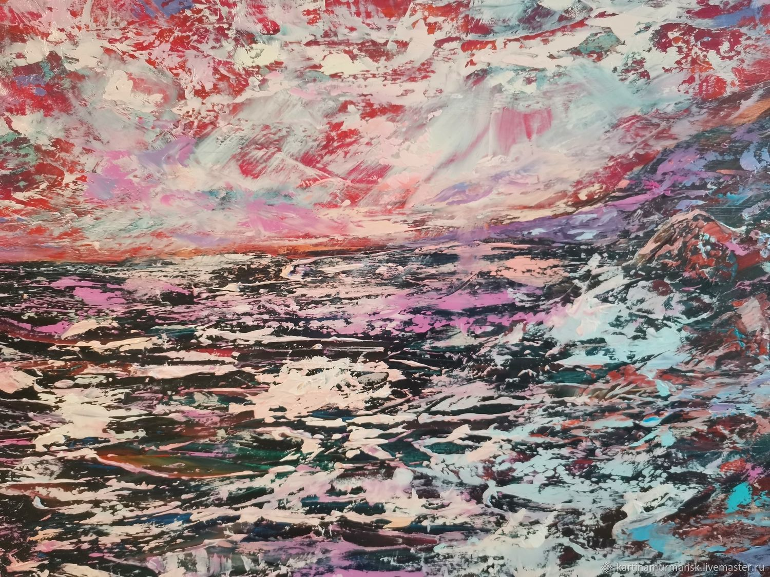 Oil painting with the sea 'From dusk to dawn', Pictures, Murmansk,  Фото №1