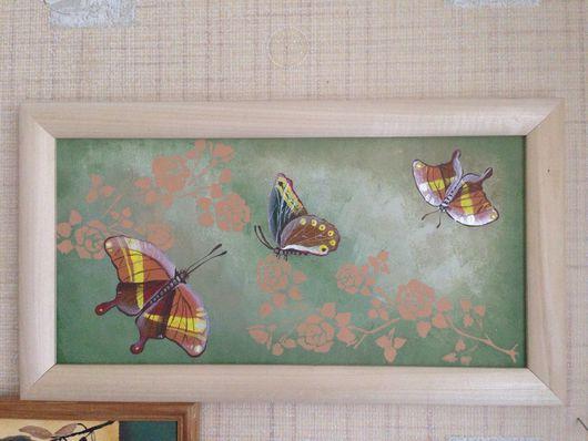Животные ручной работы. Ярмарка Мастеров - ручная работа. Купить Бабочки. Handmade. Панно на стену, картина, подарок, подарок девушке