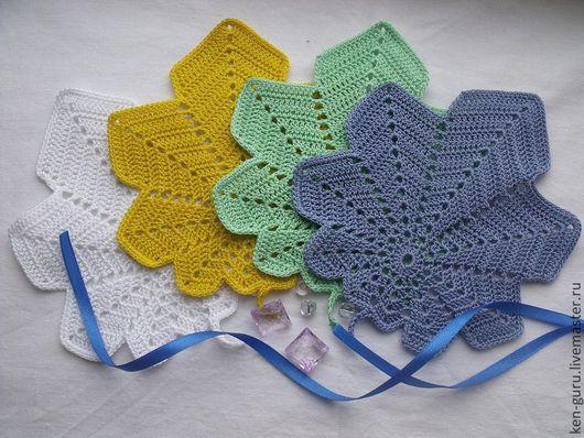 Текстиль, ковры ручной работы. Ярмарка Мастеров - ручная работа. Купить ажурные мини-салфетки листики. Handmade. Салфетка, хлопок