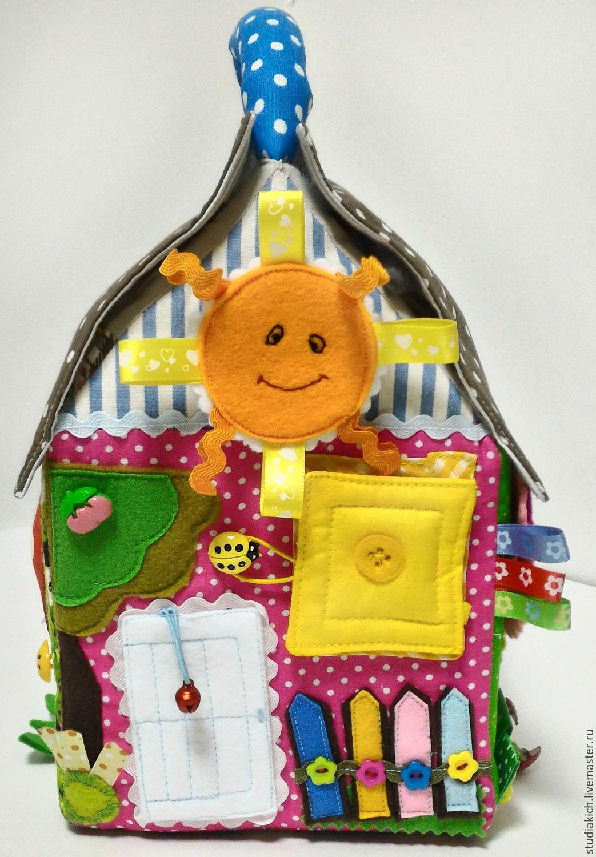 Развивающие игрушки для детей ручной работы.Развивающий кубик -` Дом` . Купить развивающий кубик. Ярмарка мастеров.  Развитие тактильных ощущений,мелкой моторики