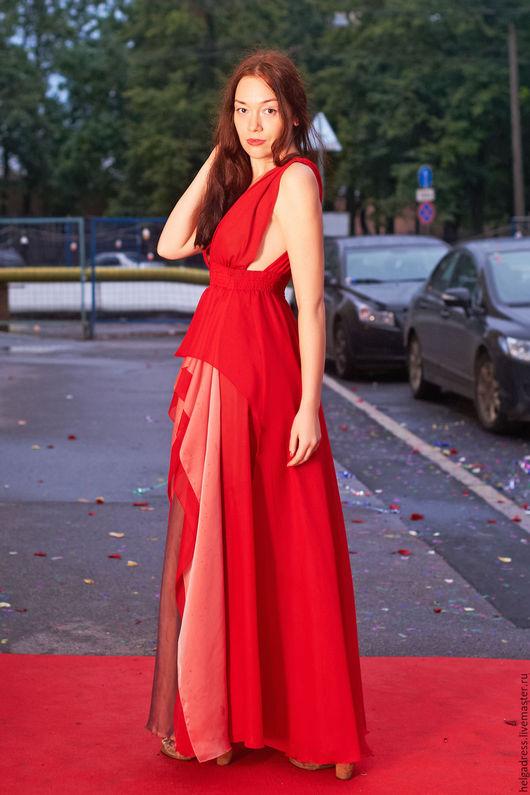 """Платья ручной работы. Ярмарка Мастеров - ручная работа. Купить Вечернее платье """"Красная роза"""". Handmade. Ярко-красный"""