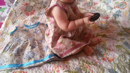 Одежда для девочек, ручной работы. Ярмарка Мастеров - ручная работа. Купить Льняное платьишко для малышки. Handmade. Голубой, льняная одежда