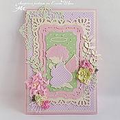 """Открытки ручной работы. Ярмарка Мастеров - ручная работа Открытка для новорожденной """"Нежный ангел"""" открытка для девочки. Handmade."""