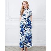 """Одежда ручной работы. Ярмарка Мастеров - ручная работа Платье сафари в синие цветы """"гжель"""". Handmade."""
