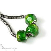 Материалы для творчества handmade. Livemaster - original item Three charms Young foliage lampwork glass silver green. Handmade.