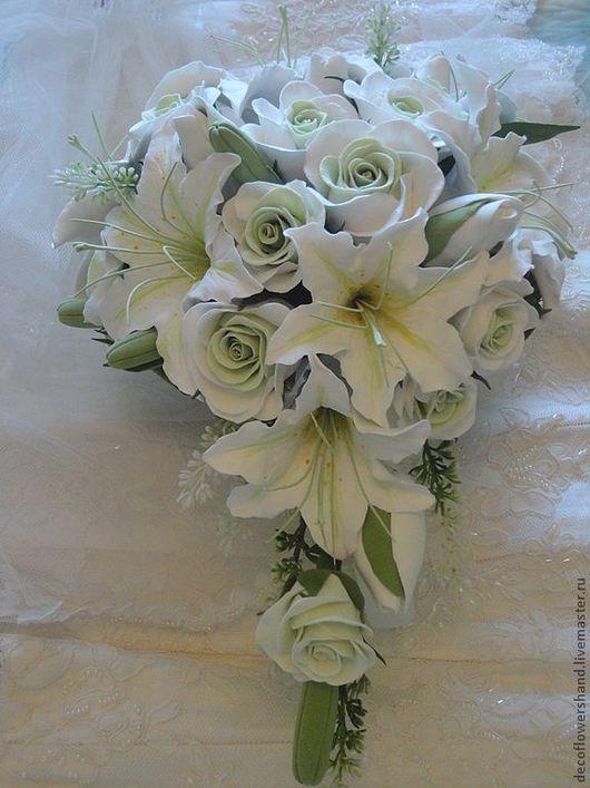 Букеты ручной работы. Ярмарка Мастеров - ручная работа. Купить Свадебный букет из белых лилий. Handmade. Цветы из полимерной глины
