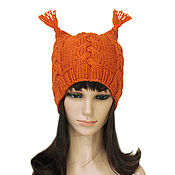 Аксессуары handmade. Livemaster - original item Hat with ears knitted Squirrel with braids. Handmade.