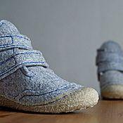 Обувь ручной работы handmade. Livemaster - original item Women`s grey shoes with Velcro fasteners Eco style. Handmade.