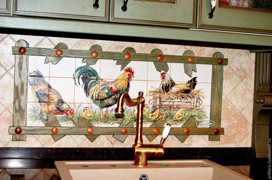 Декор поверхностей ручной работы. Ярмарка Мастеров - ручная работа. Купить Роспись плитки. Фартук для кухни Кантри двор. Handmade.