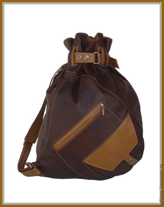 Рюкзаки ручной работы. Ярмарка Мастеров - ручная работа. Купить Рюкзак-мешок на одной лямке Коричневый с песочным. Handmade.