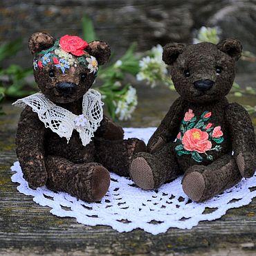 Куклы и игрушки ручной работы. Ярмарка Мастеров - ручная работа Мини мишки с вышивкой. Handmade.