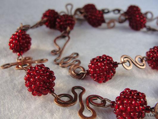 """Колье, бусы ручной работы. Ярмарка Мастеров - ручная работа. Купить Ожерелье """"Cranberries"""". Handmade. Бордовый, украшение на шею"""