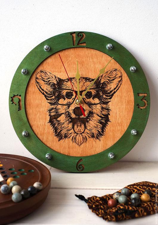 Часы для дома ручной работы. Ярмарка Мастеров - ручная работа. Купить Часы настенные Корги. Handmade. Коричневый, любимец, интерьер