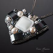Украшения handmade. Livemaster - original item white. Grey. Astra. Brooch - pendant in white with silver.Beads.. Handmade.