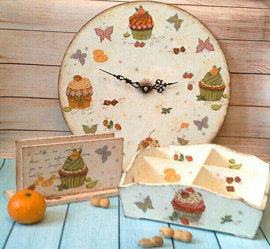 """Часы для дома ручной работы. Ярмарка Мастеров - ручная работа. Купить Декупажный набор """"Сладкая жизнь"""". Handmade. Комбинированный"""