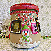 Посуда handmade. Livemaster - original item Christmas fairy house. Jar with decor.New year.. Handmade.