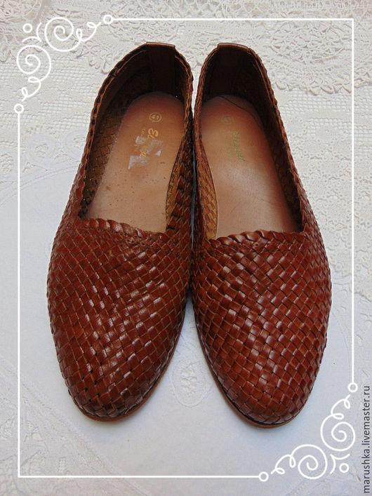 Винтажная обувь. Ярмарка Мастеров - ручная работа. Купить Винтажные туфли из натуральной кожи, Европа, 80-е. Handmade. Коричневый