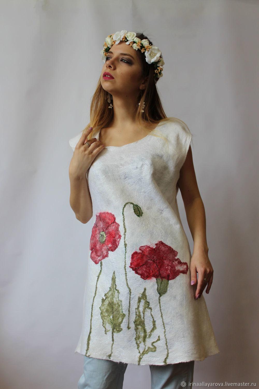 Maki tunic blouse! felted on silk, Blouses, Verhneuralsk,  Фото №1