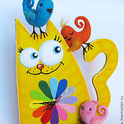 """Для дома и интерьера ручной работы. Ярмарка Мастеров - ручная работа Часы """"Кот с птичками"""". Handmade."""